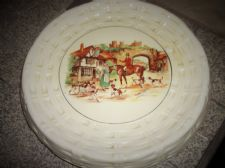 DECO LANCASTER SONS HANLEY RAISED CAKE PLATE HORSE HOUND HUNT INN BASKET WEAVE
